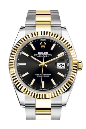 Rolex Datejust 41 Black Dial Fluted Bezel 18k Yellow Gold Mens Watch 126333