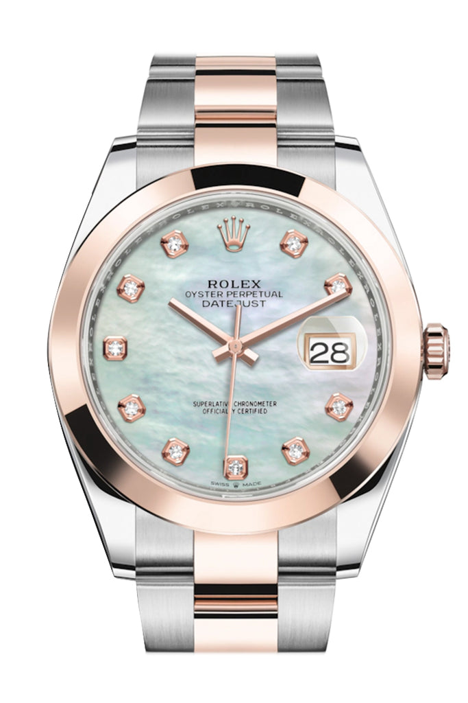 Rolex Datejust 41 Mother-of-pearl set with Diamonds Dial Rose Gold  Mens Watch 126301