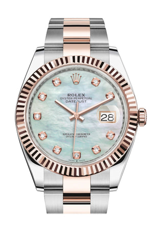 Rolex Datejust 41 Mother-of-pearl set with Diamonds Dial Rose Gold Fluted Bezel Mens Watch 126331