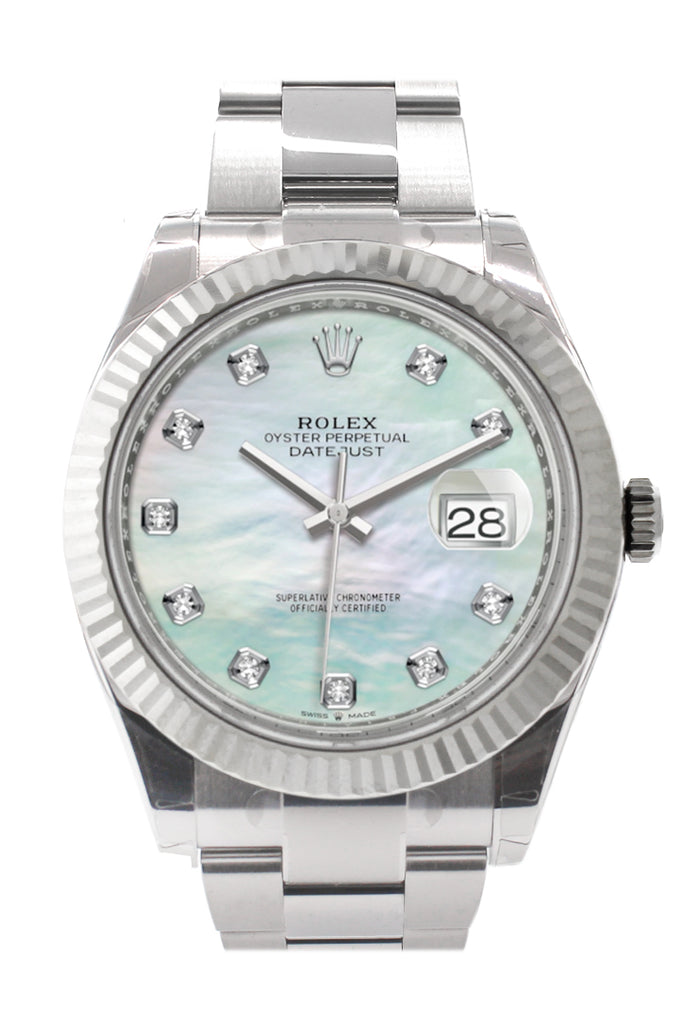 Rolex Datejust 41 White Mother-of-pearl set with Diamonds Dial White Gold Fluted Bezel Mens Watch 126334