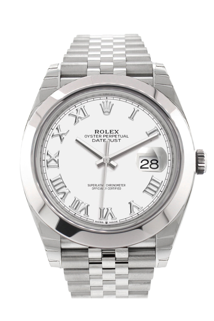 Rolex Datejust 41 White Roman Dial Automatic Jubilee Men's Watch 126300