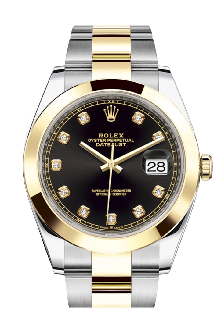 Rolex Datejust 41 Black Diamond Dial Steel and 18K Yellow Gold Oyster Men's Watch 126303