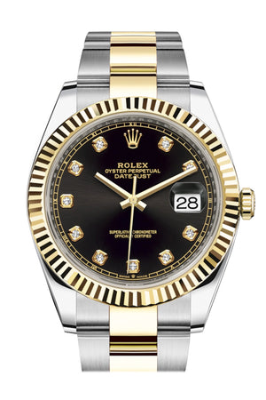 Rolex Datejust 41 Black Diamond Dial Fluted Bezel 18k Yellow Gold Mens Watch 126333