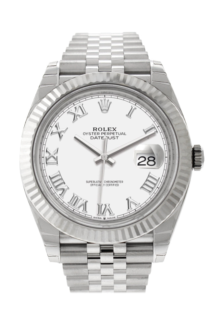 Rolex Datejust 41 White Roman Dial White Gold Fluted Bezel Jubilee Mens Watch 126334