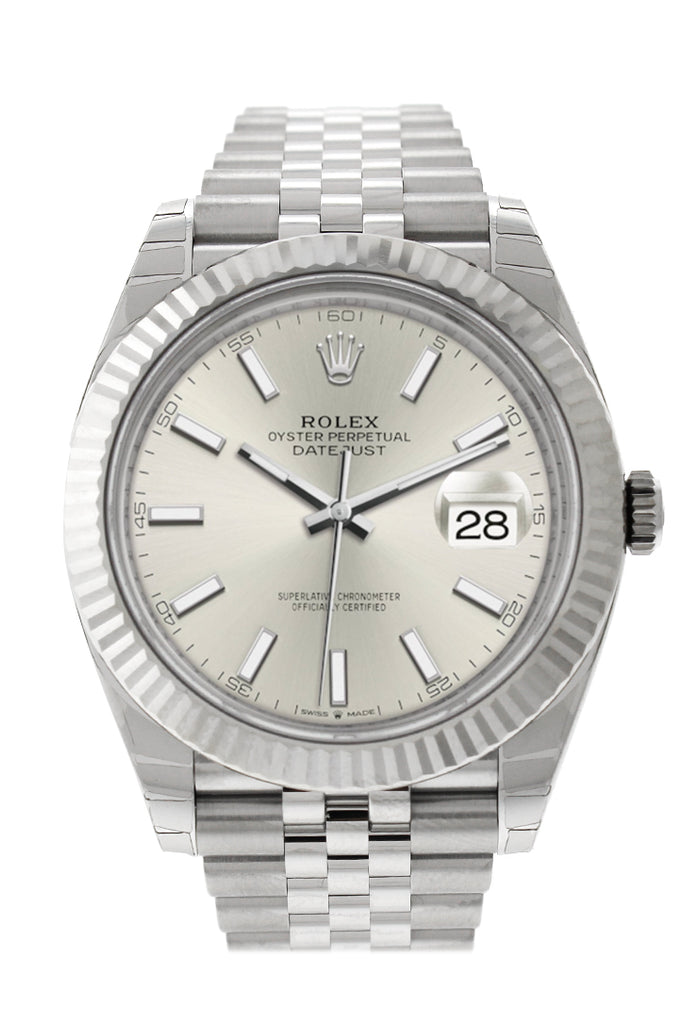 Rolex Datejust 41 Silver Dial White Gold Fluted Bezel Jubilee Mens Watch 126334