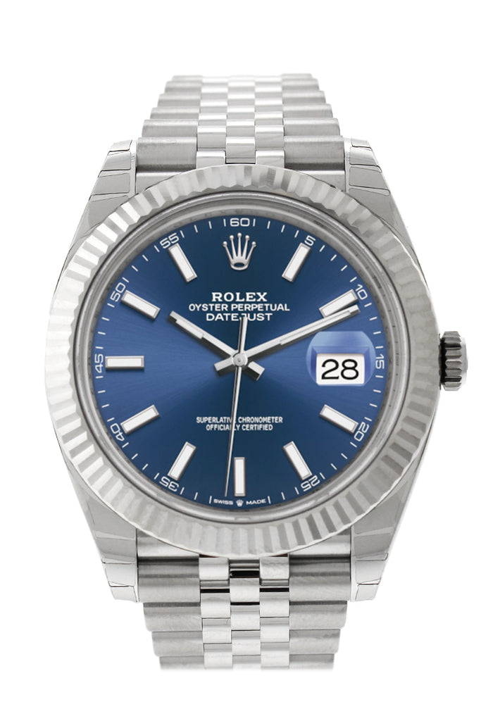 Rolex Datejust 41 Blue Dial White Gold Fluted Bezel Jubilee Mens Watch 126334
