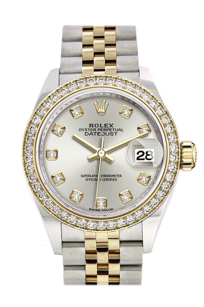 Rolex Datejust 28 Silver set with diamonds Dial Diamond Bezel Yellow Gold Jubilee Ladies Watch 279383RBR 279383