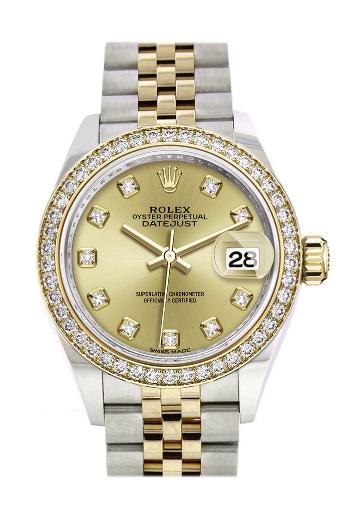 Rolex Datejust 28 Champagne set with diamonds Dial Diamond Bezel Yellow Gold Jubilee Ladies Watch 279383RBR 279383