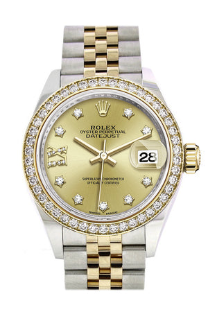 Rolex Datejust 28 Champagne Diamond Star Dial Diamond Bezel Yellow Gold Jubilee Ladies Watch 279383RBR 279383