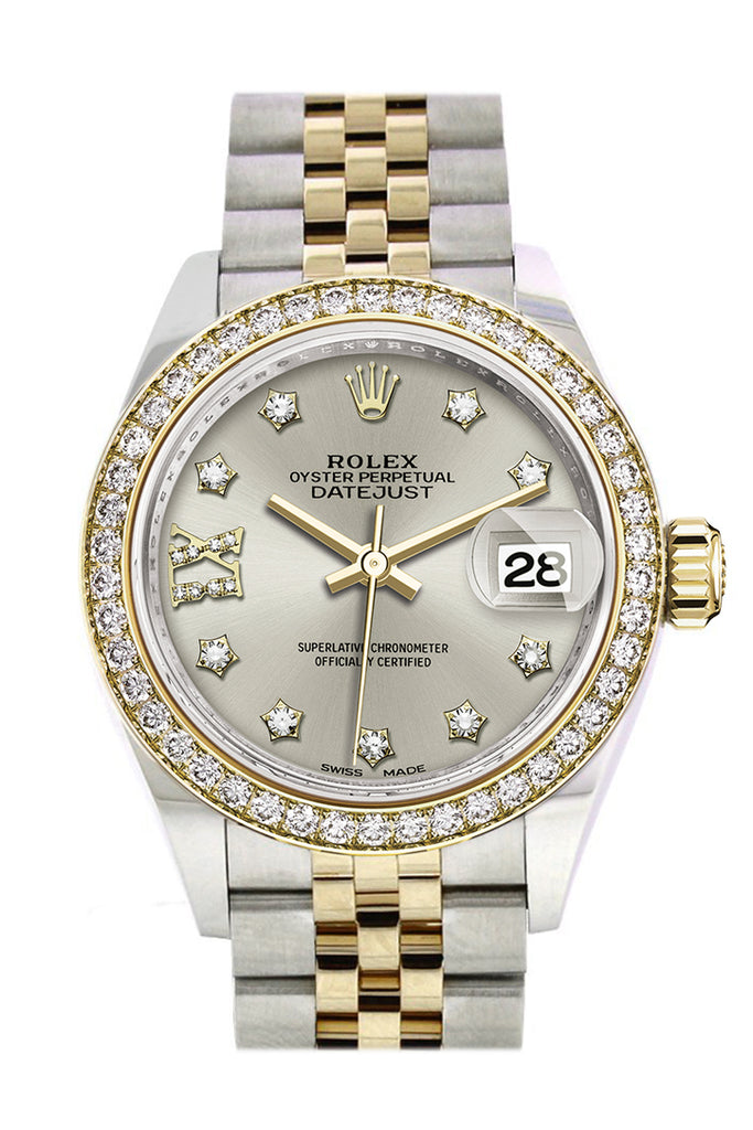 Rolex Datejust 28 Silver Diamond Star Dial Diamond Bezel Yellow Gold Jubilee Ladies Watch 279383RBR 279383