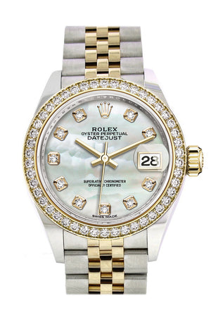 Rolex Datejust 28 White mother-of-pearl set with diamonds Dial Diamond Bezel Yellow Gold Jubilee Ladies Watch 279383RBR 279383