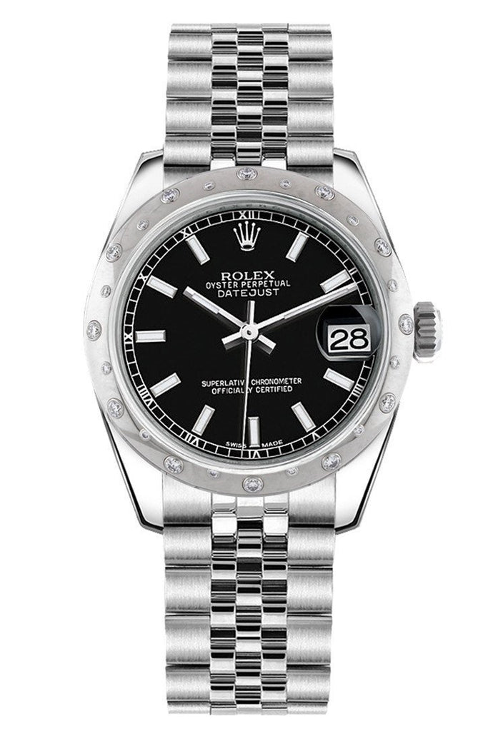 Rolex Datejust 31 Black Dial Dome Set With Diamonds Bezel Jubilee Ladies Watch 178344