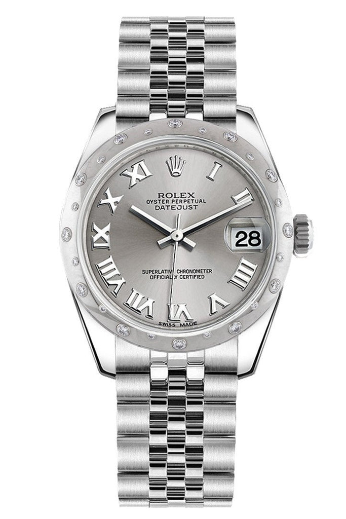 Rolex Datejust 31 Silver Roman Dial Dome set with Diamonds Bezel Jubilee Ladies Watch 178344