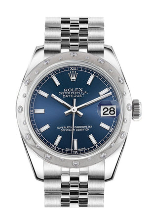 Rolex Datejust 31 Blue Dial Dome Set With Diamonds Bezel Jubilee Ladies Watch 178344 / None