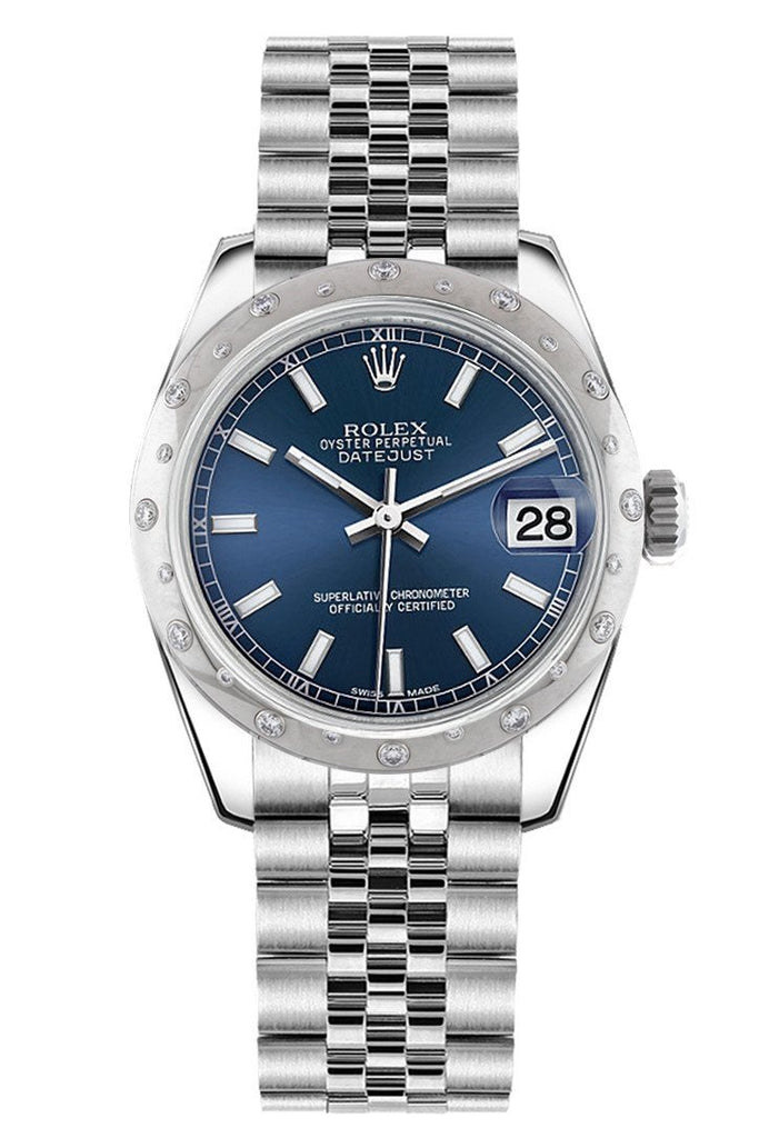 Rolex Datejust 31 Blue Dial Dome Set With Diamonds Bezel Jubilee Ladies Watch 178344