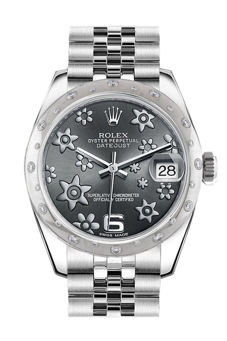Rolex Datejust 31 Dark Rhodium Raised Floral Motif Dial Gold Dome Set With Diamonds Bezel Jubilee