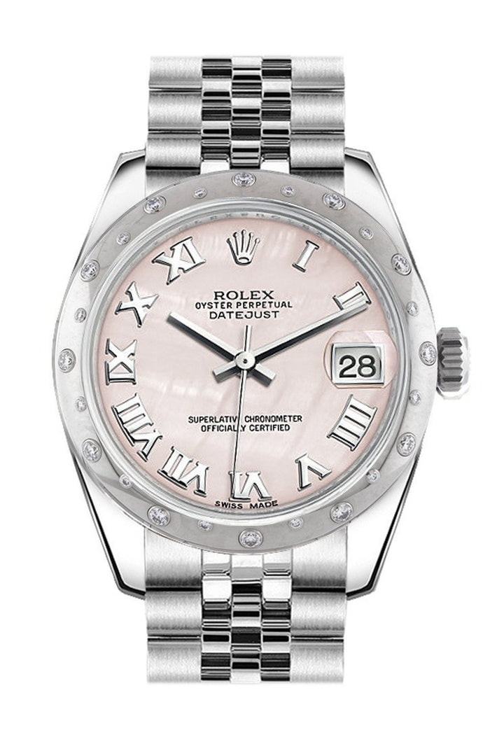 Rolex Datejust 31 Pink Mother of Pearl Roman Dial Dome set with Diamonds Bezel Jubilee Ladies Watch 178344