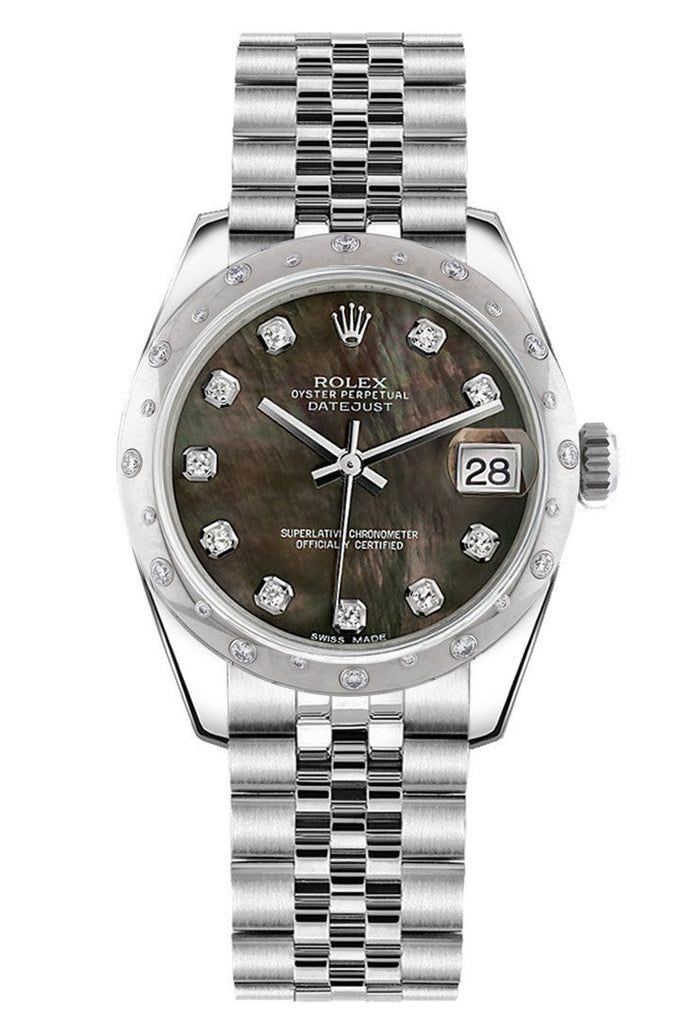 Rolex Datejust 31 Black Mother Of Pearl Diamond Dial Dome Set With Diamonds Bezel Jubilee Ladies