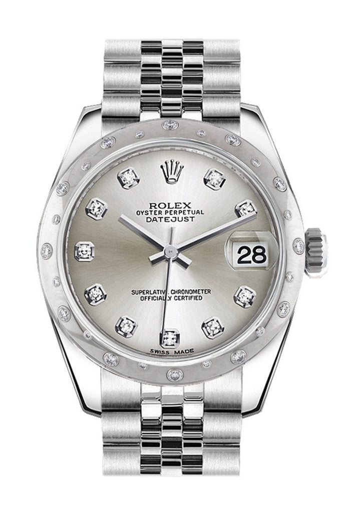 Rolex Datejust 31 Silver Diamond Dial Dome Set With Diamonds Bezel Jubilee Ladies Watch 178344 /