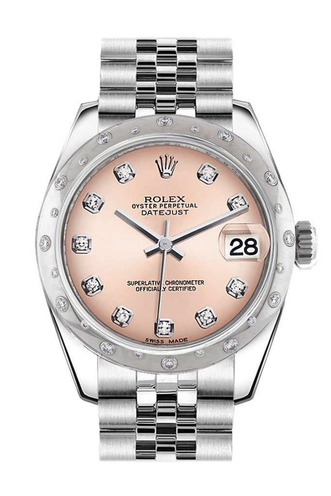 Rolex Datejust 31 Pink Diamond Dial Dome Set With Diamonds Bezel Jubilee Ladies Watch 178344 / None