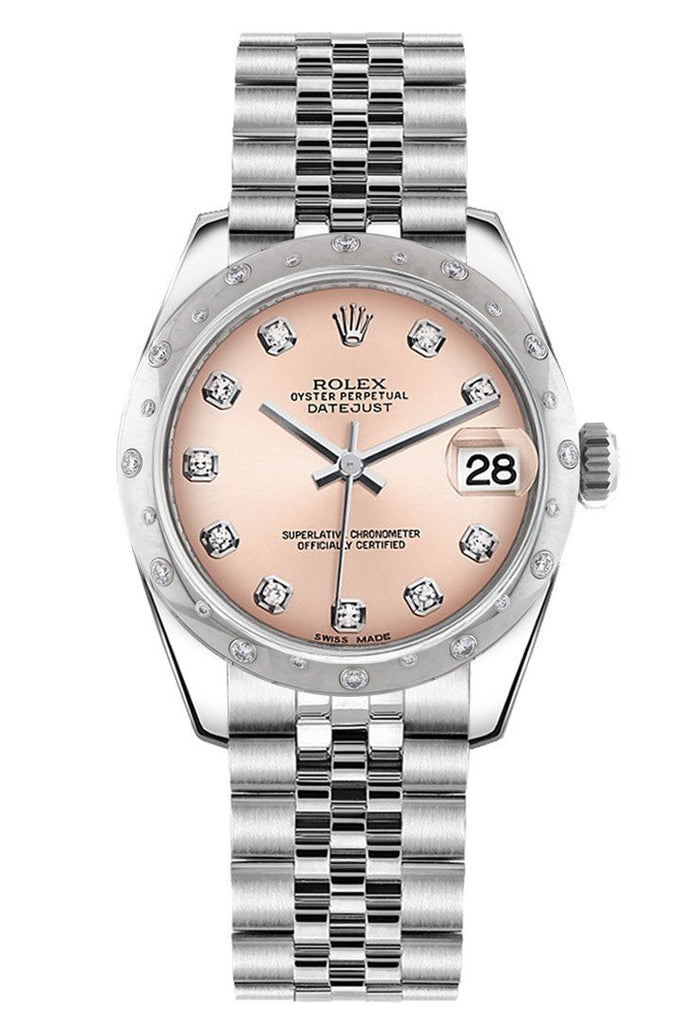 Rolex Datejust 31 Pink Diamond Dial Dome Set With Diamonds Bezel Jubilee Ladies Watch 178344