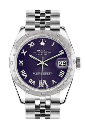 Rolex Datejust 31 Purple Roman Large Vi Diamond Dial Dome Set With Diamonds Bezel Jubilee Ladies