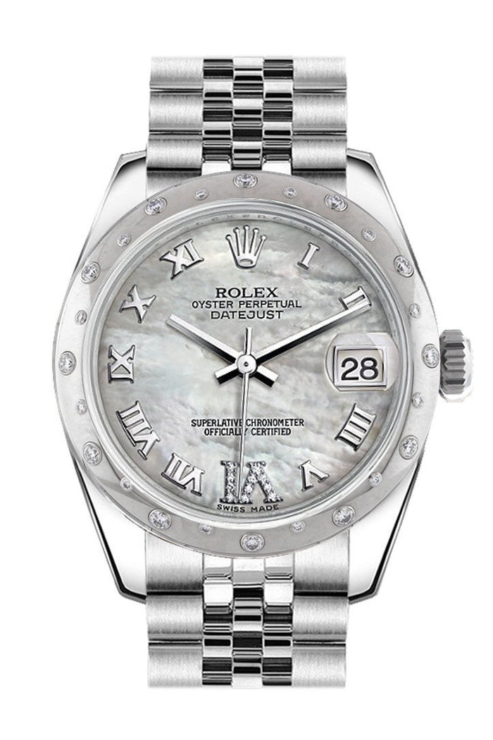 Rolex White Mother of Pearl Roman Large VI Diamond Dial Gold Dome set with Diamonds Bezel Jubilee Ladies Watch