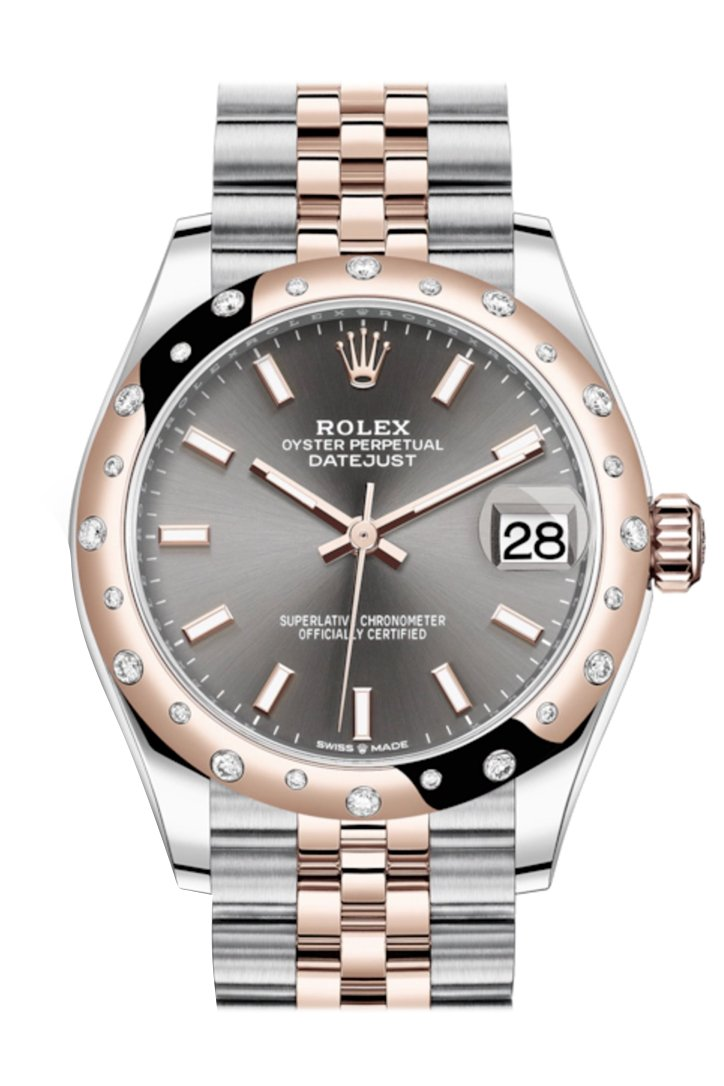 Rolex Datejust 31 Dark Rhodium Dial Diamond Bezel Jubilee Rose Gold Two Tone Watch 278341Rbr 278341