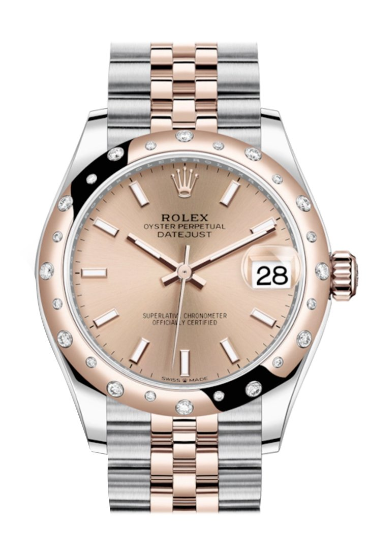 Rolex Datejust 31 Rosé Colour Dial Diamond Bezel Jubilee Rose Gold Two Tone Watch 278341Rbr 278341