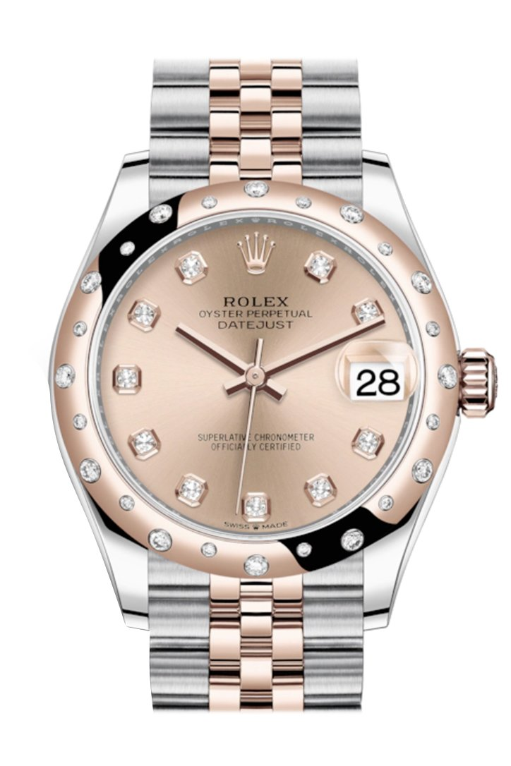 Rolex Datejust 31 Rosé Colour Diamonds Dial Diamond Bezel Jubilee Rose Gold Two Tone Watch