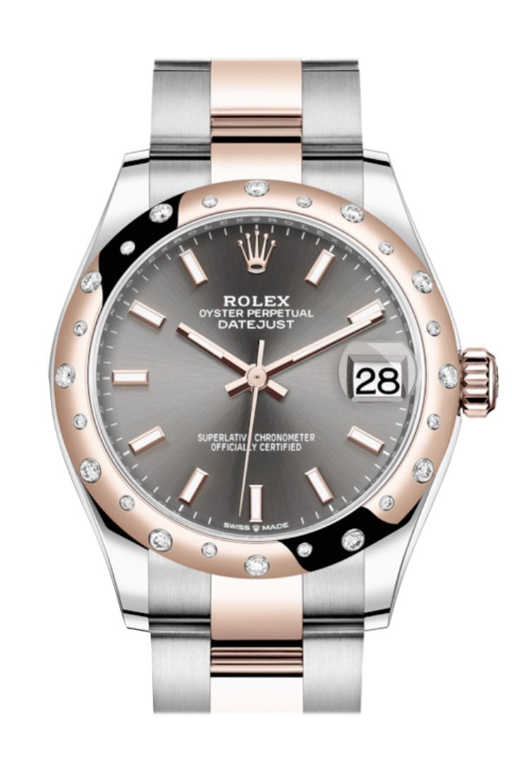 Rolex Datejust 31 Dark Rhodium Index Dial Diamond Bezel Rose Gold Two Tone Watch 278341Rbr 278341