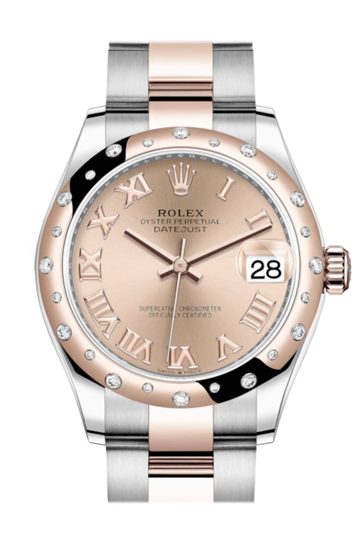 Rolex Datejust 31 Rosé Colour Roman Dial Diamond Bezel Rose Gold Two Tone Watch 278341Rbr 278341