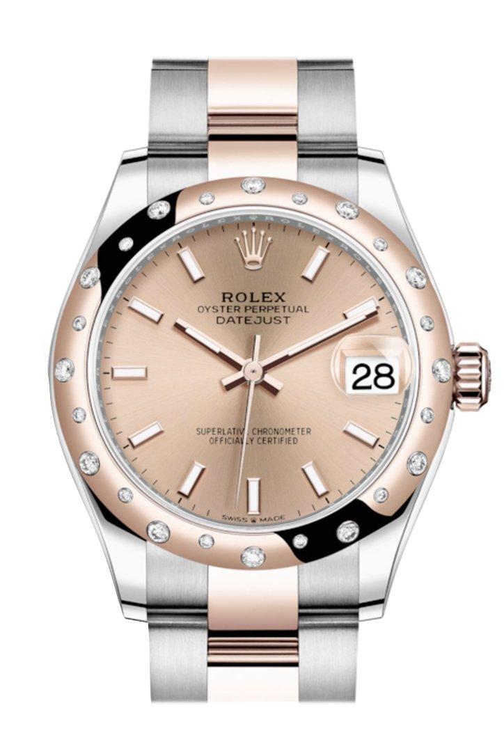 Rolex Datejust 31 Rosé Colour Index Dial Diamond Bezel Rose Gold Two Tone Watch 278341Rbr 278341