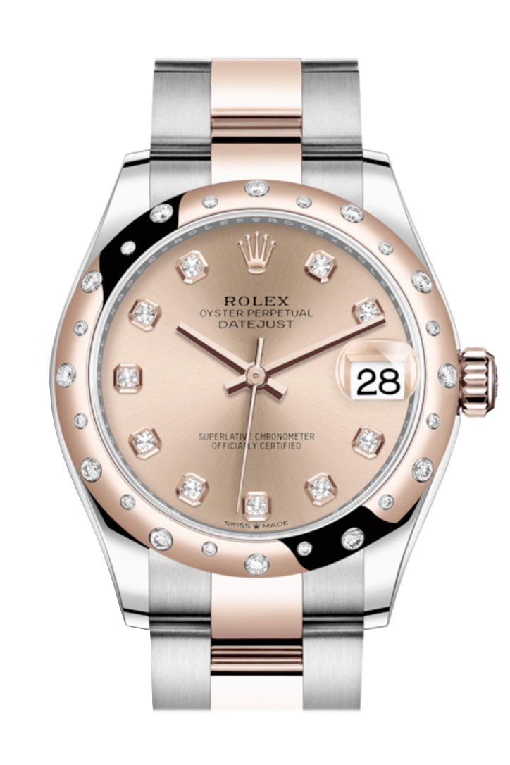 Rolex Datejust 31 Rosé Colour Diamonds Dialdiamond Bezel Rose Gold Two Tone Watch 278341Rbr 278341