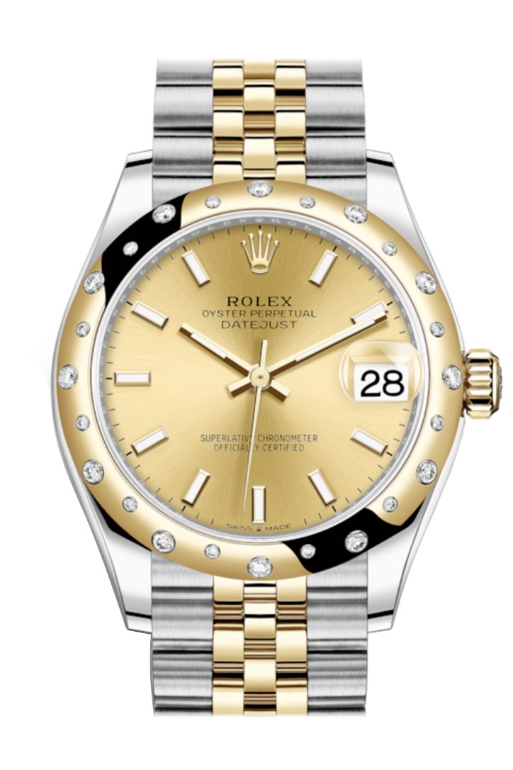 Rolex Datejust 31 Champagne Dial Diamond Bezel Jubilee Rose Gold Two Tone Watch 278343Rbr 278343