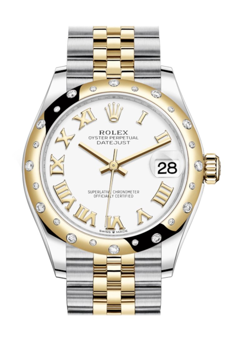 Rolex Datejust 31 White Roman Dial Diamond Bezel Jubilee Yellow Gold Two Tone Watch 278343Rbr 278343