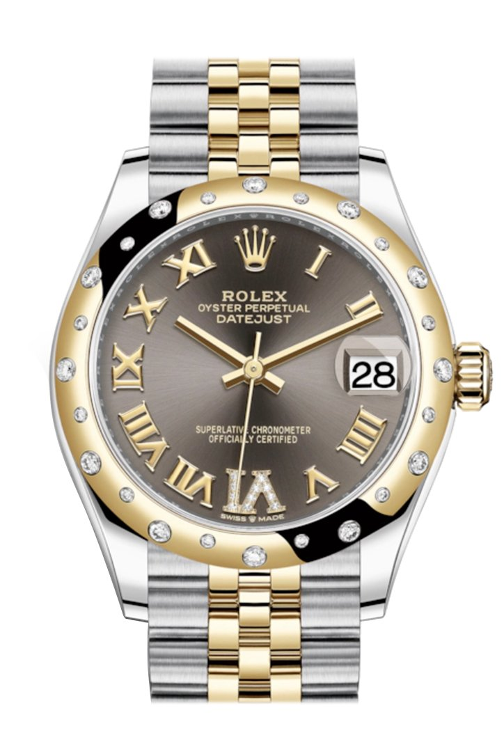 Rolex Datejust 31 Dark Grey Large Vi Diamonds Dial Diamond Bezel Jubilee Yellow Gold Two Tone Watch