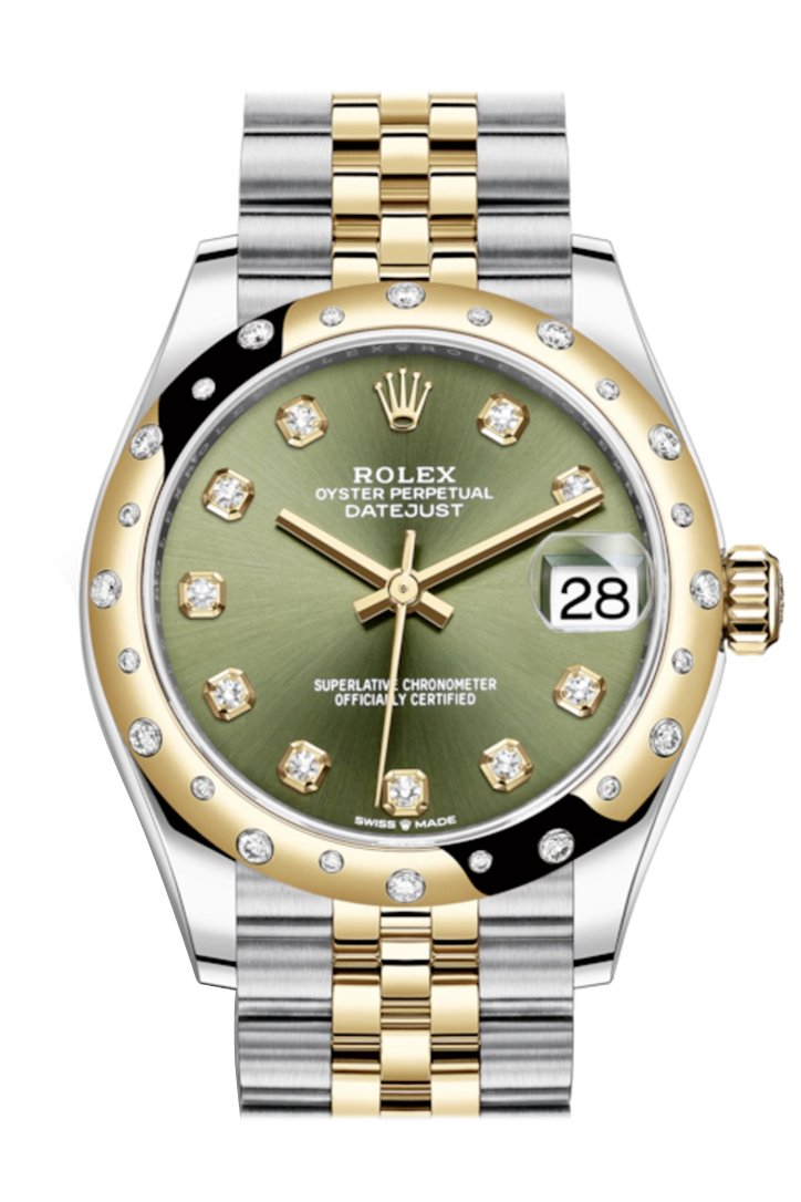 Rolex Datejust 31 Olive Green Diamonds Dial Diamond Bezel Jubilee Yellow Gold Two Tone Watch