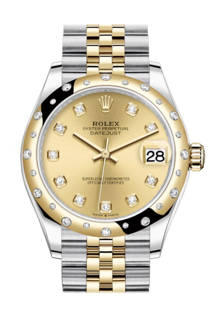 Rolex Datejust 31 Champagne Diamonds Dial Diamond Bezel Jubilee Yellow Gold Two Tone Watch 278341Rbr