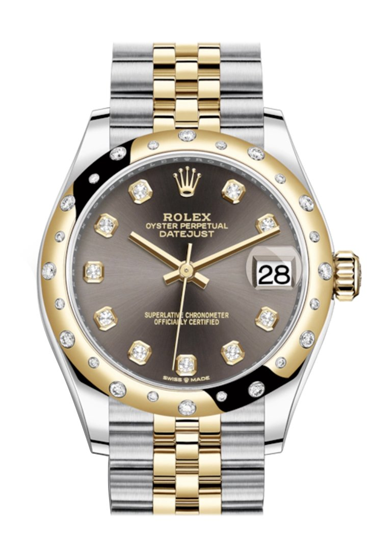 Rolex Datejust 31 Dark Grey Diamonds Dial Diamond Bezel Jubilee Yellow Gold Two Tone Watch 278341Rbr