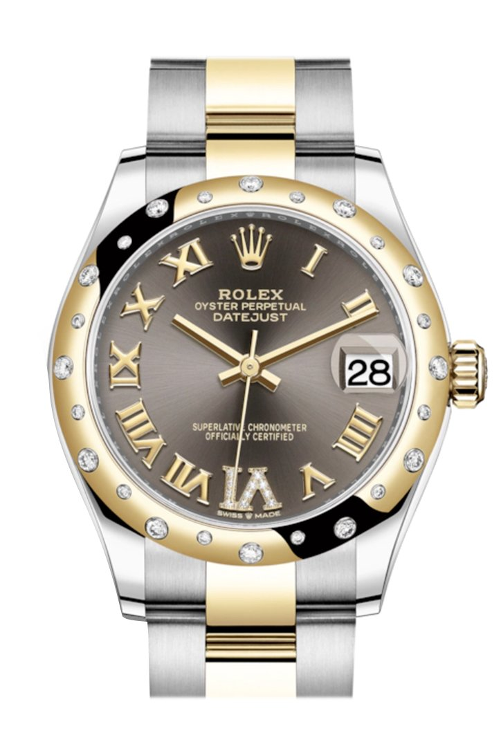 Rolex Datejust 31 Dark Grey Large Vi Diamonds Dial Diamond Bezel Rose Gold Two Tone Watch 278343Rbr