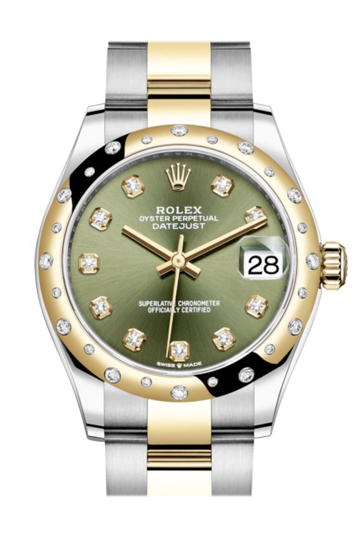 Rolex Datejust 31 Olive Green Diamonds Dial Diamond Bezel Rose Gold Two Tone Watch 278343Rbr 278343
