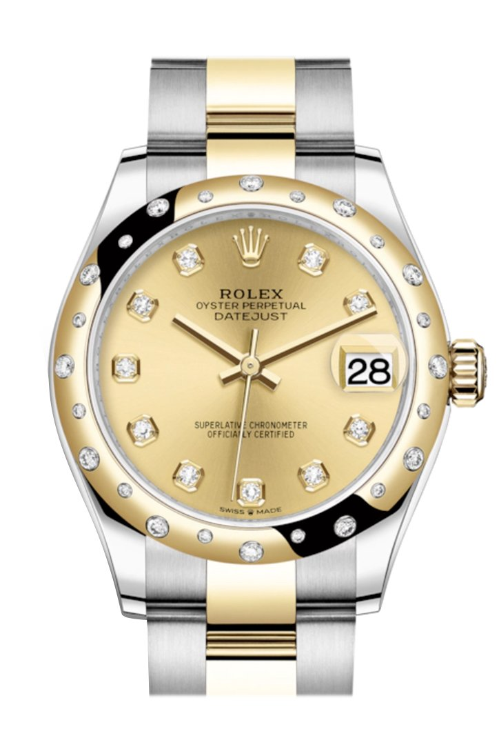 Rolex Datejust 31 Champagne Diamonds Dial Diamond Bezel Rose Gold Two Tone Watch 278343Rbr 278343
