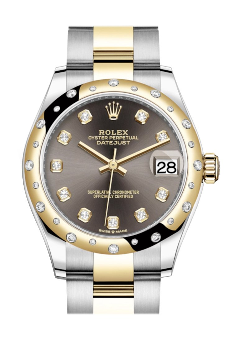 Rolex Datejust 31 Dark Grey Diamonds Dial Diamond Bezel Rose Gold Two Tone Watch 278343Rbr 278343