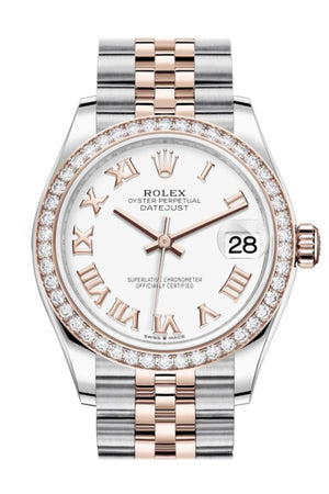 Rolex Datejust 31 White Dial Diamond Bezel Rose Gold Two Tone Jubilee Watch 278381Rbr 278381