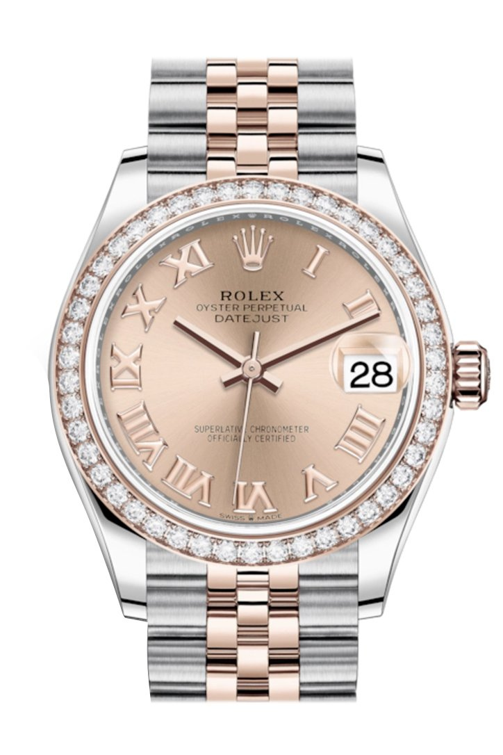 Rolex Datejust 31 Rosé Roman Dial Diamond Bezel Rose Gold Two Tone Jubilee Watch 278381RBR 278381