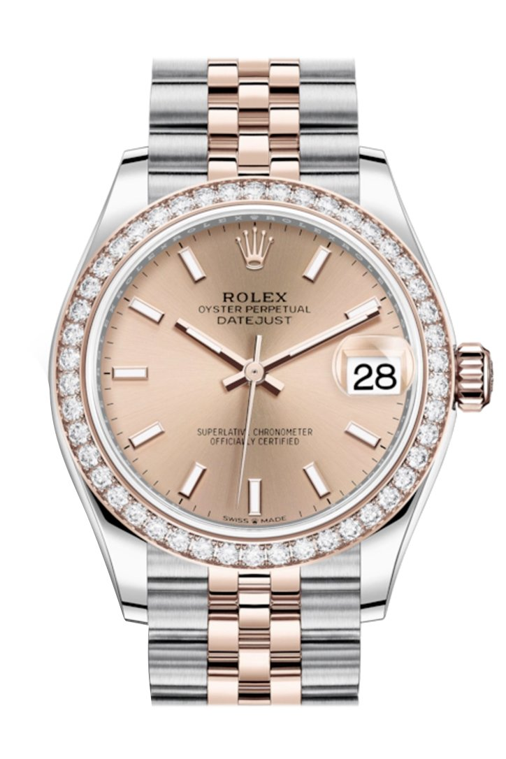 Rolex Datejust 31 Rosé Dial Diamond Bezel Rose Gold Two Tone Jubilee Watch 278381RBR 278381