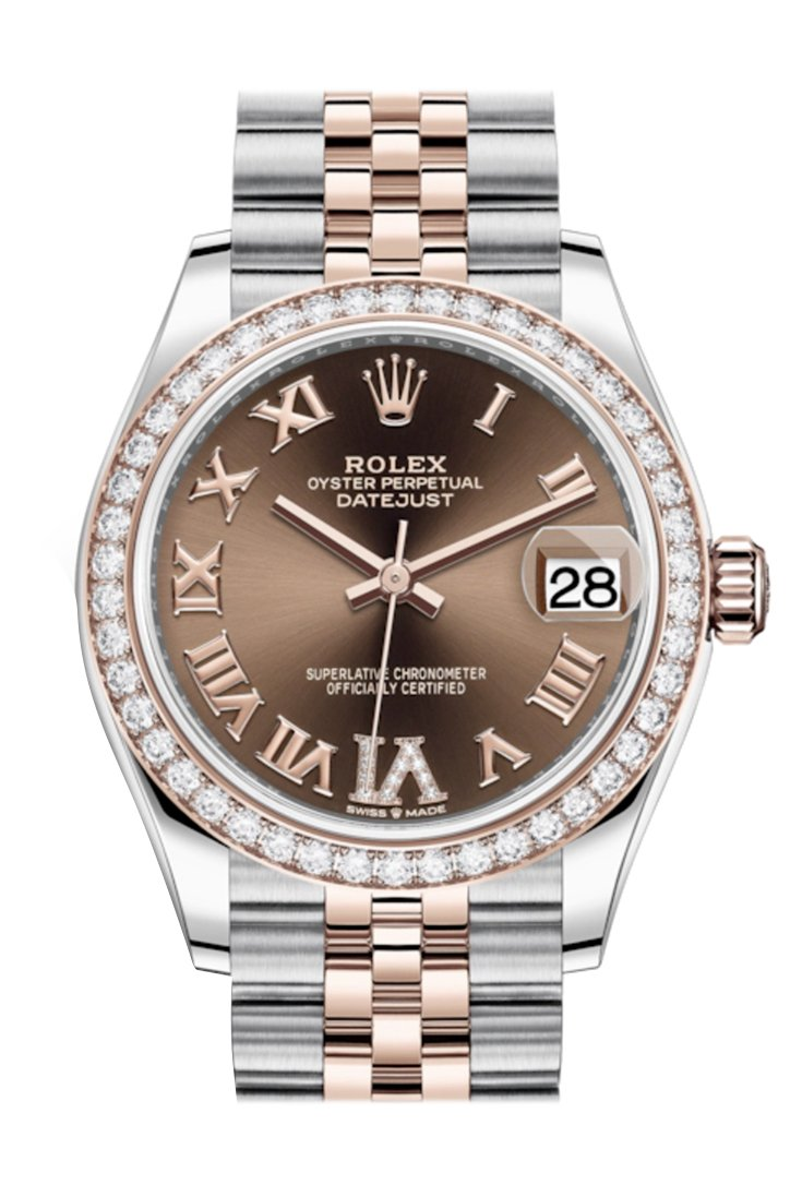 Rolex Datejust 31 Chocolate VI Diamonds Dial Diamond Bezel Rose Gold Two Tone Jubilee Watch 278381RBR 278381