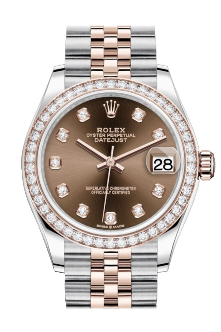 Rolex Datejust 31 Chocolate Diamonds Dial Diamond Bezel Rose Gold Two Tone Jubilee Watch 278381Rbr