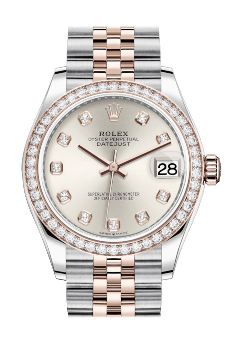 Rolex Datejust 31 Silver Diamonds Dial Diamond Bezel Rose Gold Two Tone Jubilee Watch 278381RBR 278381